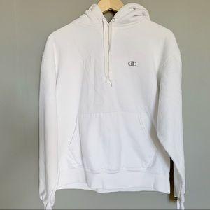 Champion White Hoodie Hooded Sweatshirt Medium